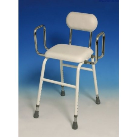 Perching stool, complete with arms and backrest.