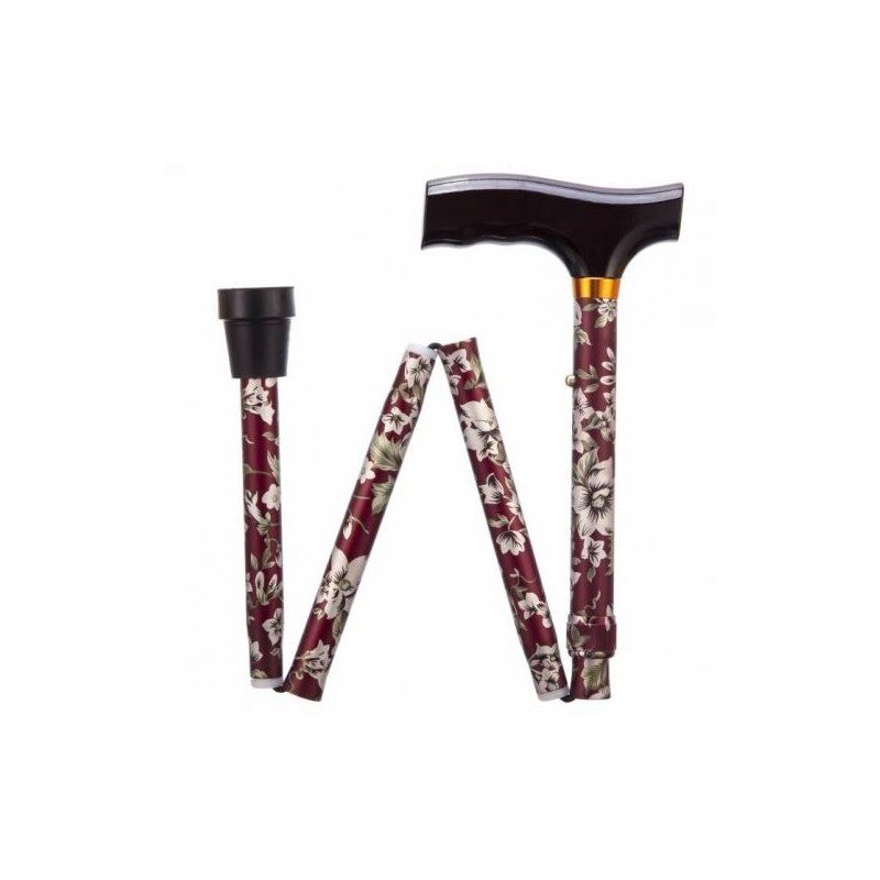 Burgundy Flower Adjustable Folding Walking Stick