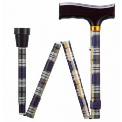 Tartan Adjustable Folding Walking Stick