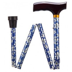 Blue Petal Adjustable Folding Walking Stick