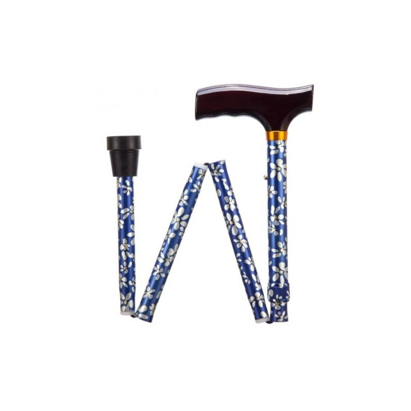Blue Petal Adjustable Folding Walking Stick
