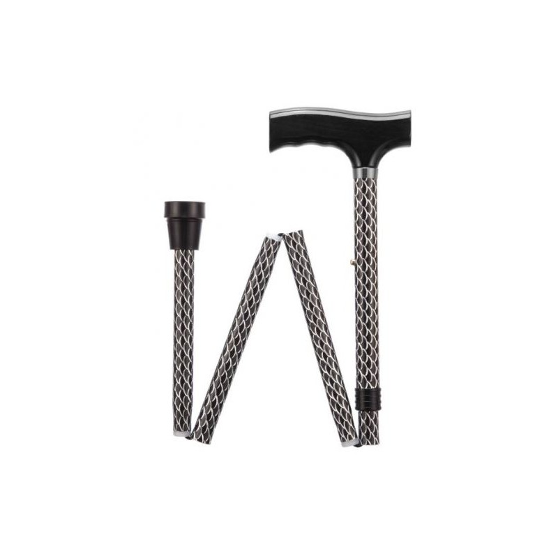 Etched Black Adjustable Folding Walking Stick